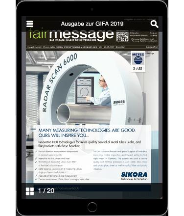 Aktuelle Ausgabe der Fairmessage zur GIFA 2019